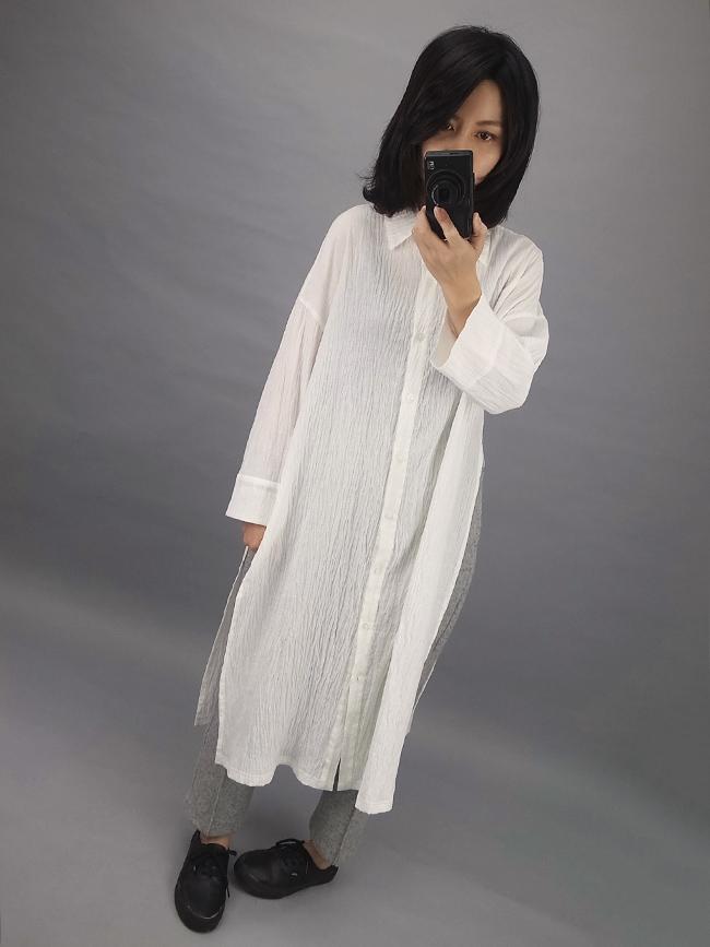 ︱自訂款︱大開岔皺摺長版襯衫