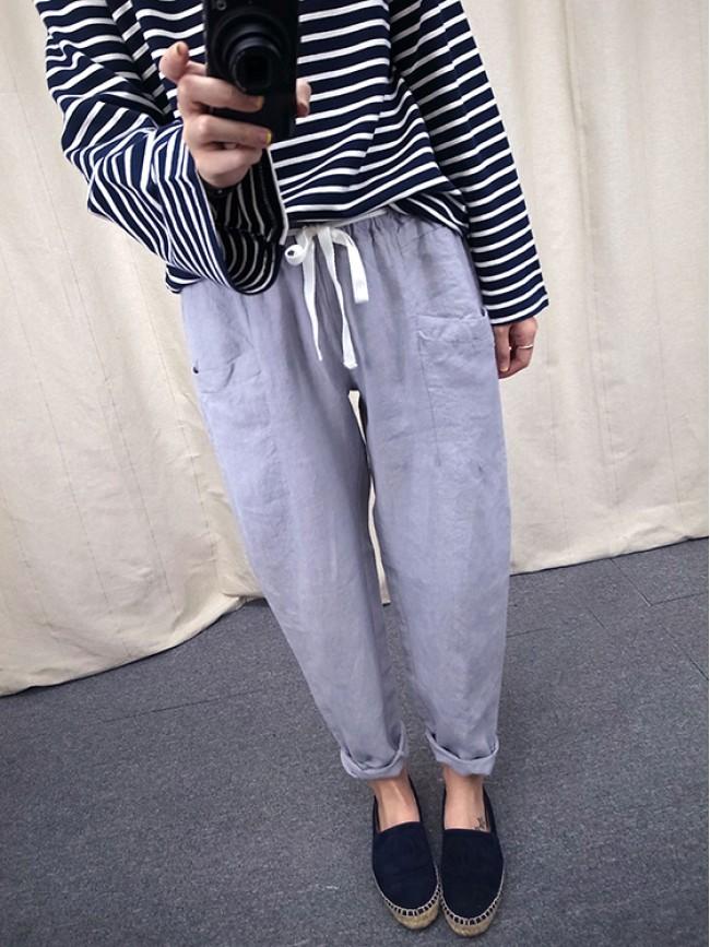 ︱自訂款︱大口袋棉麻綁帶休閒褲