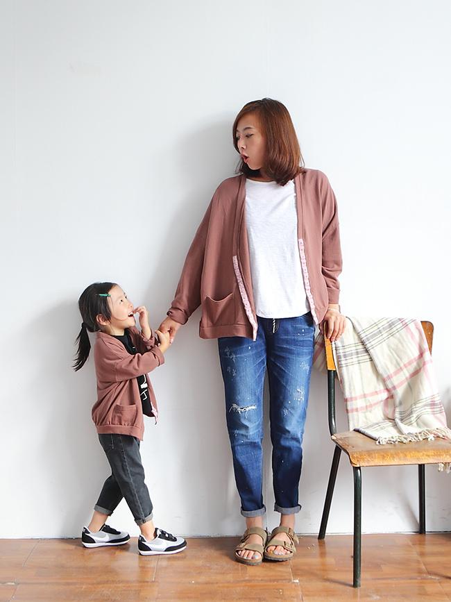 低彩度排釦親子外套(小人)
