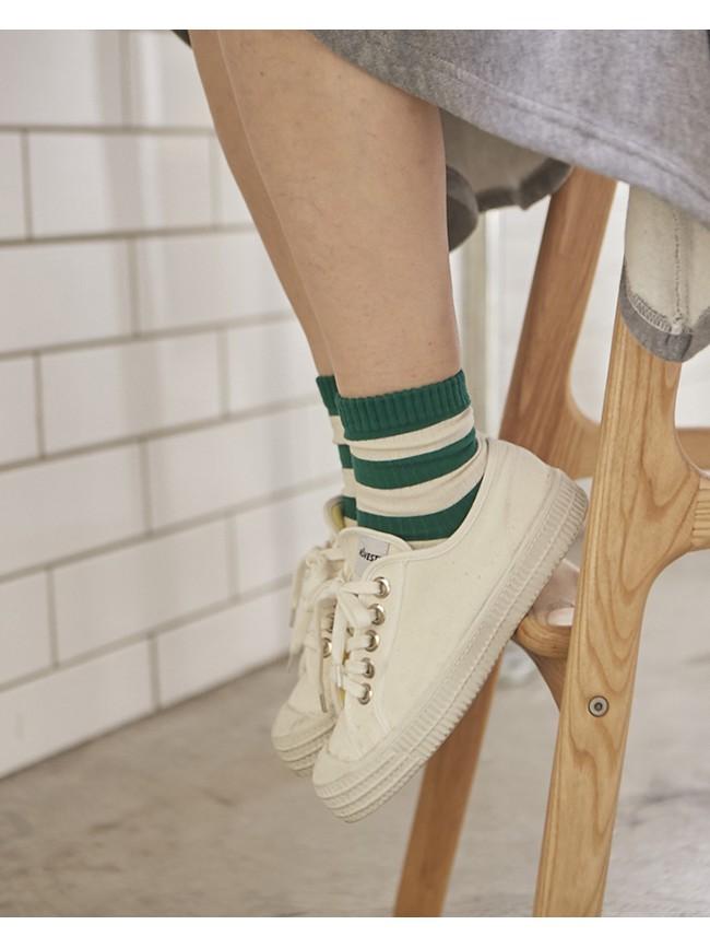 條紋素色襪