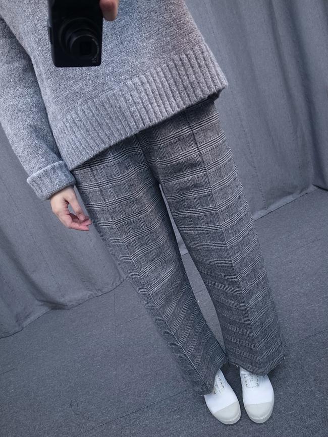 細格紋優雅寬褲