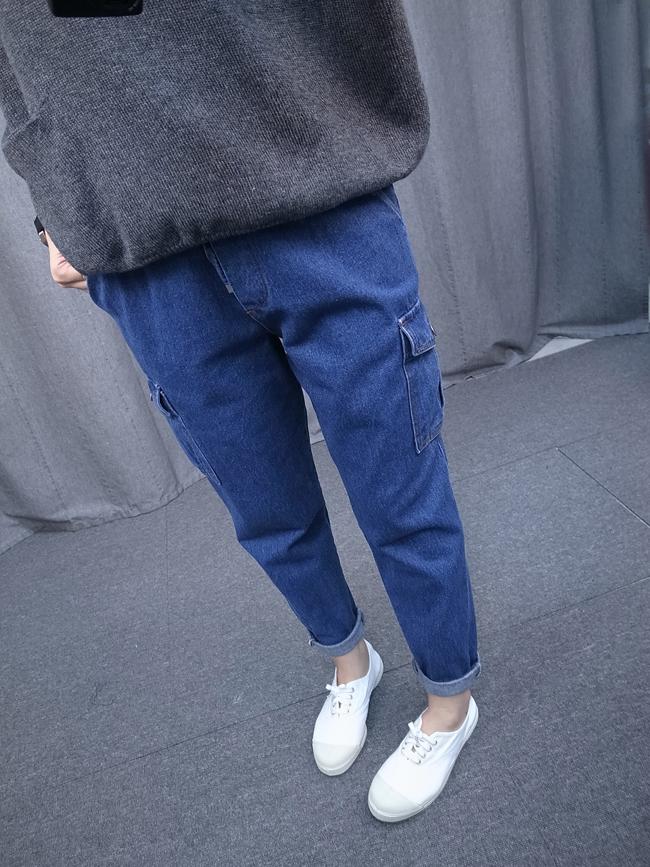 側口袋丹寧休閒褲