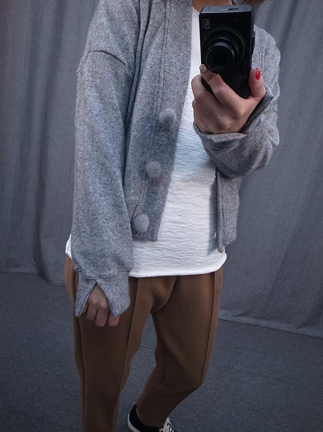 毛料針織短罩衫