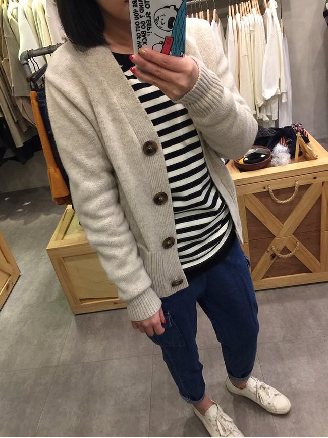 大鈕釦短版羊毛外套