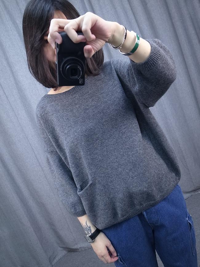 小口袋素色針織毛衣