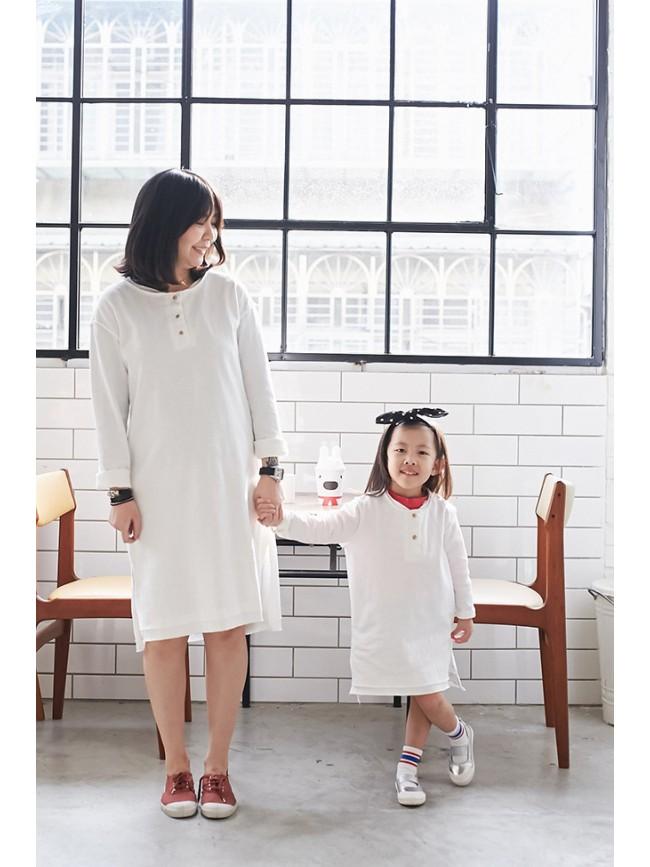 拷克小排釦親子長版洋裝(小人)