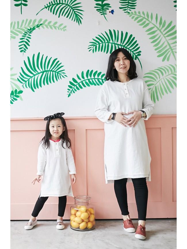 拷克小排釦親子長版洋裝(大人)