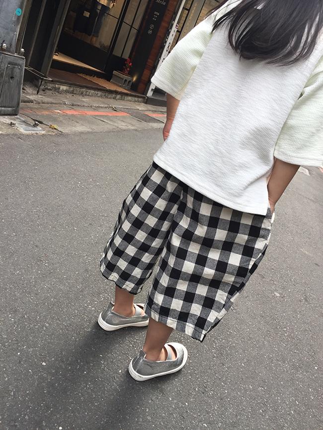 鬆緊格紋寬褲
