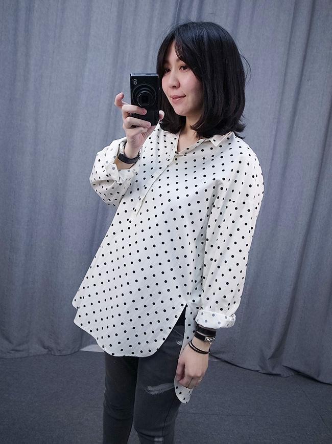 【kiki自留款】水玉點點氣質長版襯衫
