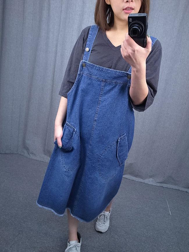 大口袋可愛吊帶裙