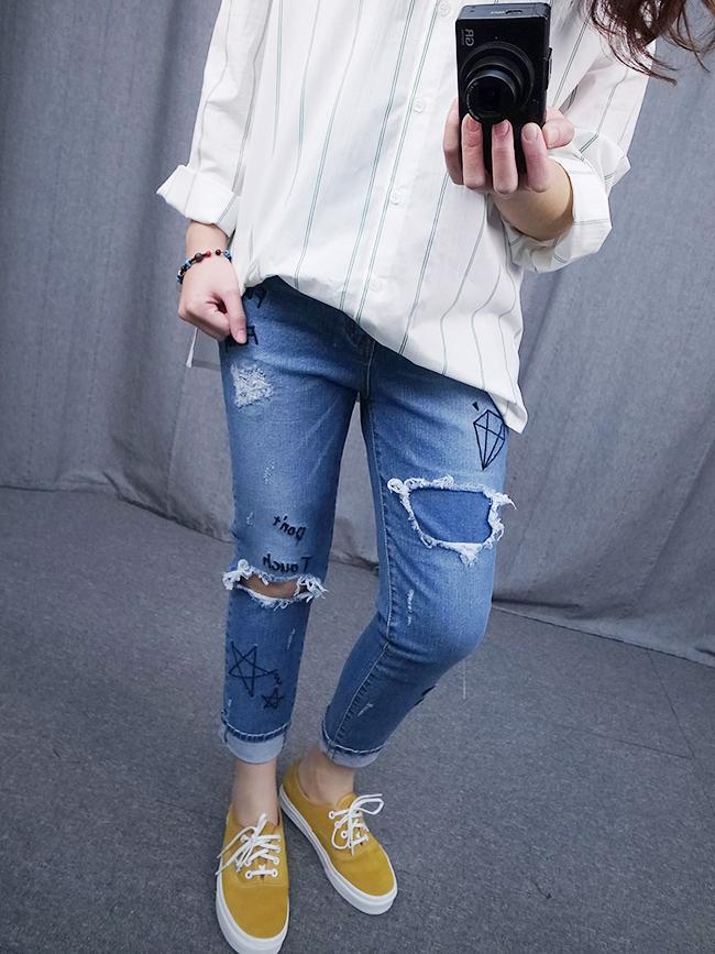 塗鴉刺繡直筒褲