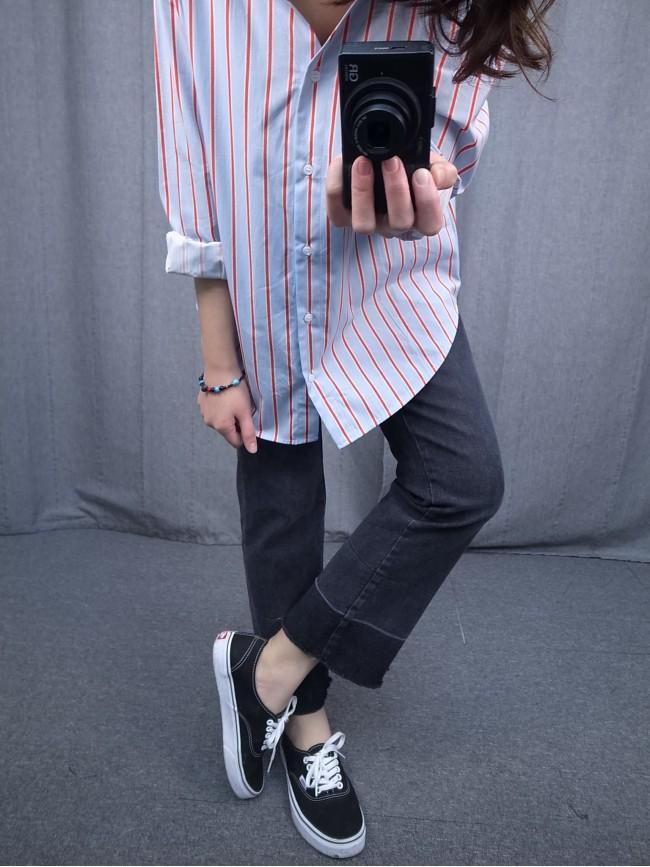 漸層褲腳彈性直筒褲