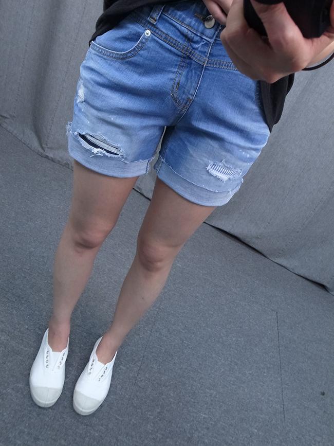 潑漆補丁牛仔短褲