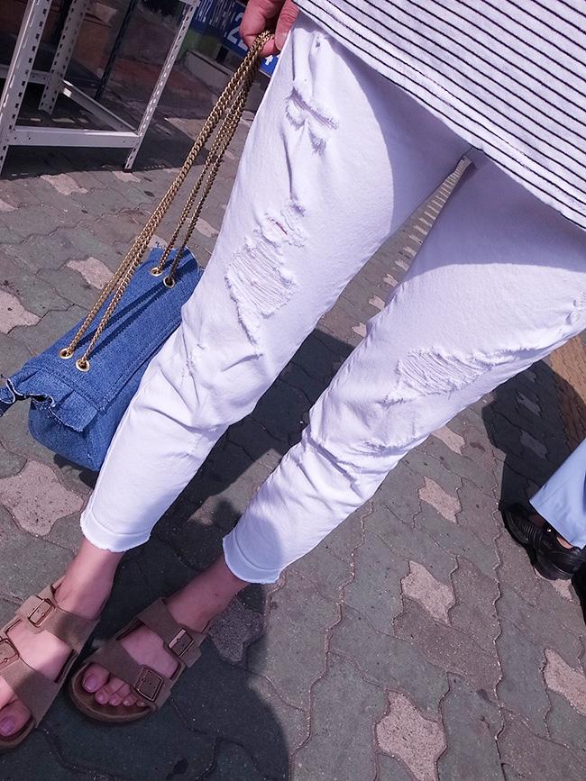純白刷破造型直筒褲