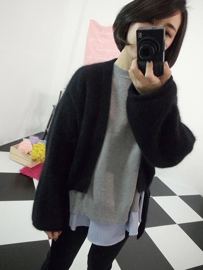 綁帶造型短版毛料罩衫