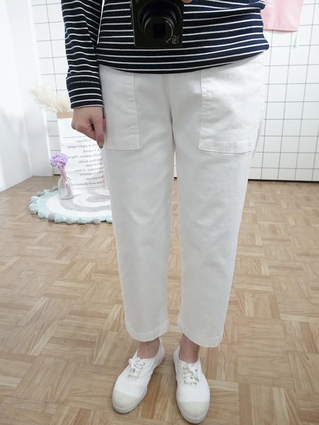 純色大口袋休閒褲