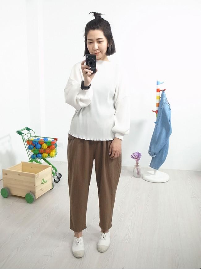 三角口袋棉麻休閒褲