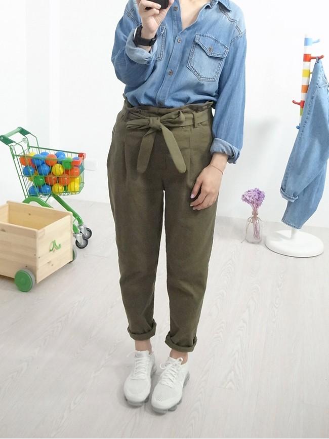 花苞綁帶造型褲