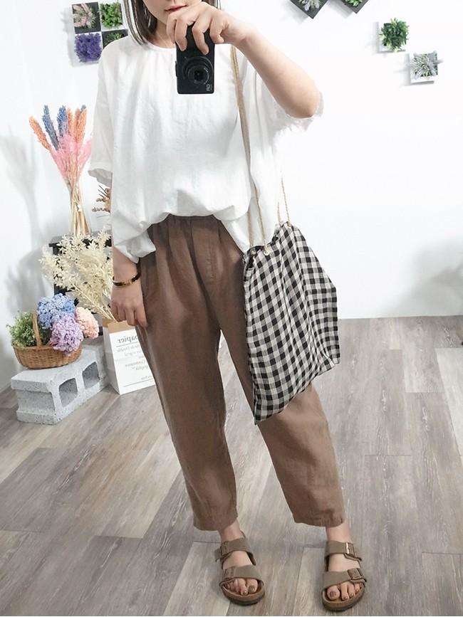 夏日格紋棉麻包