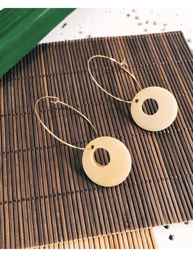 木質圓釦造型耳環