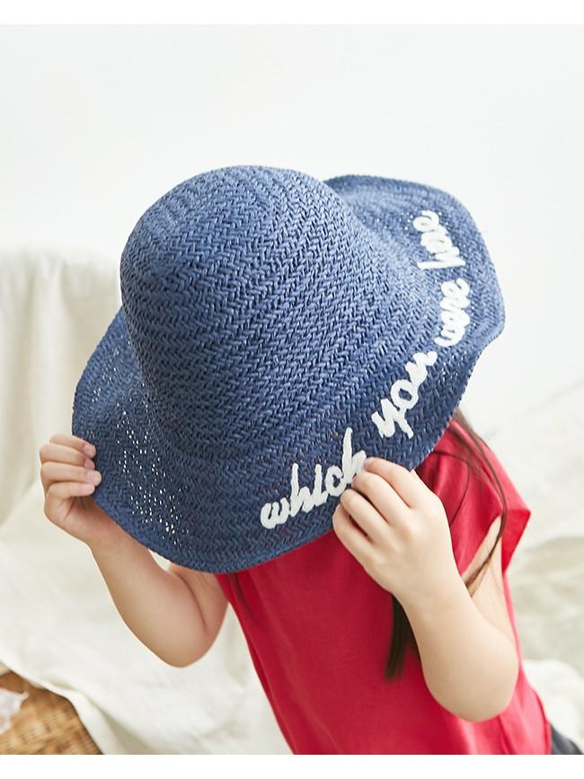 字母刺繡草編帽