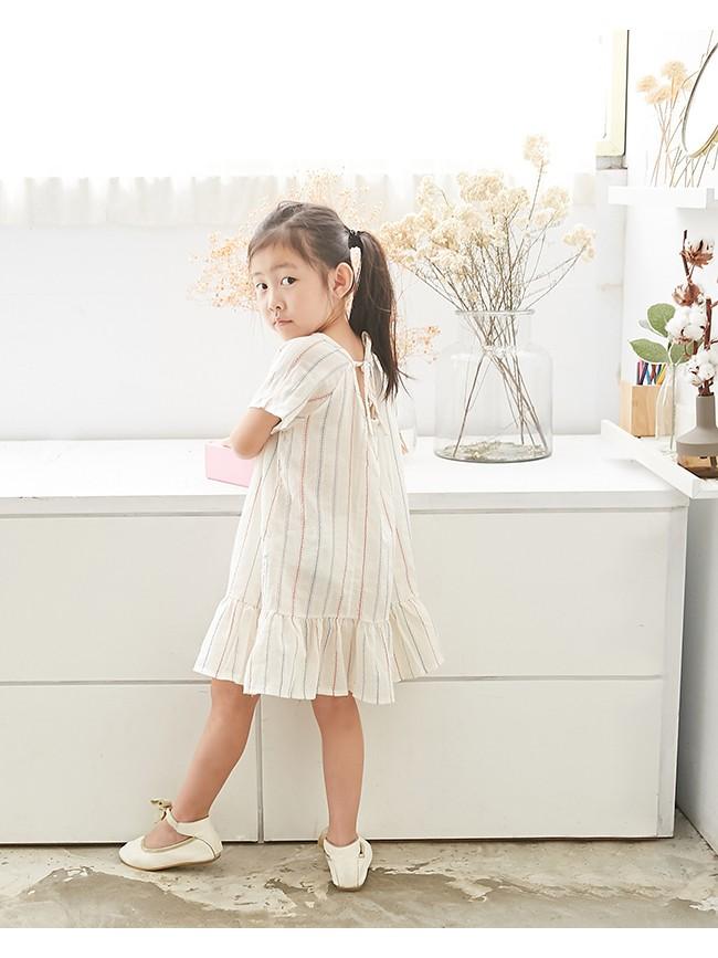 刺繡條紋裙襬洋裝