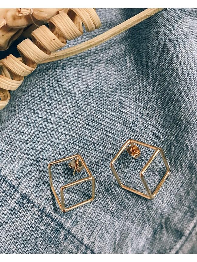立體線條金邊耳環
