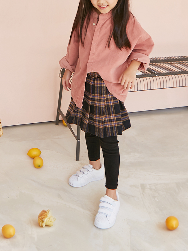 秋冬款格紋褲裙