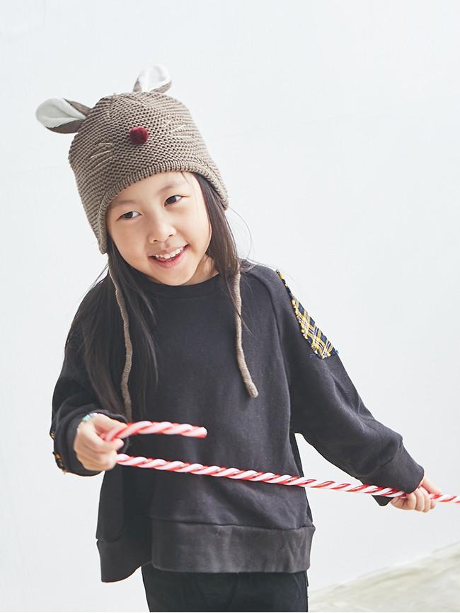 立體小老鼠針織帽