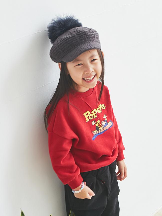 大毛球針織報童帽