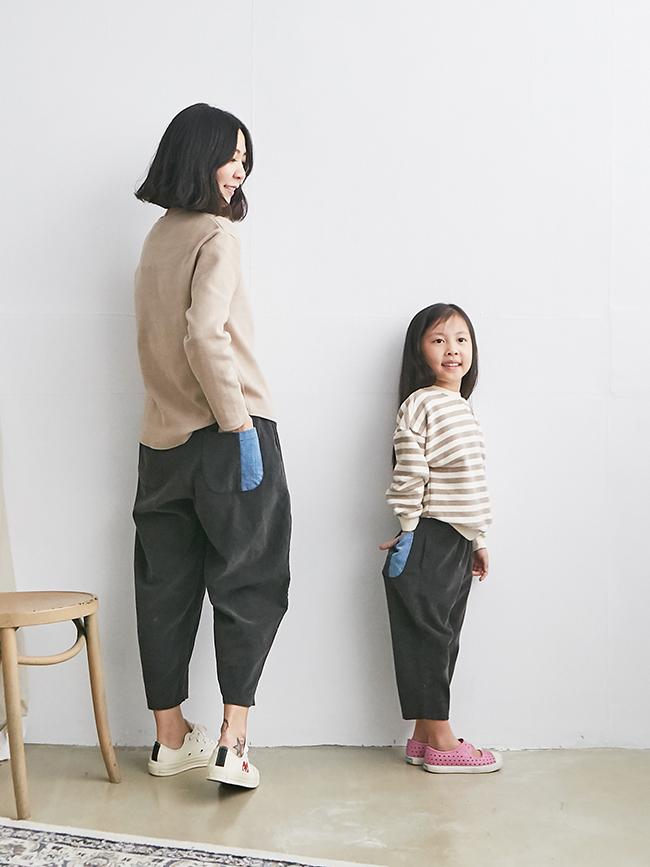 燈芯絨拼口袋寬褲(小人)