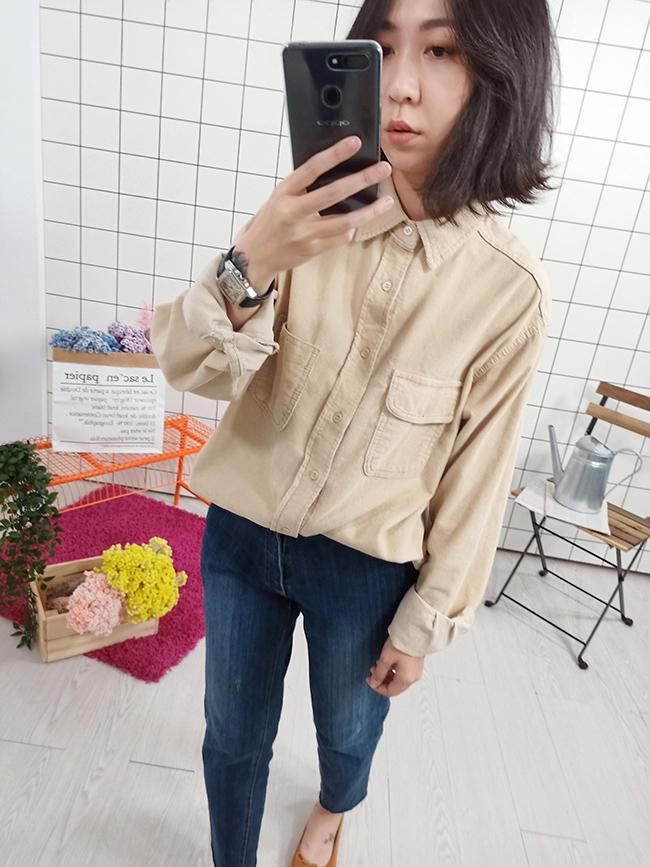 單蓋口袋燈芯絨襯衫