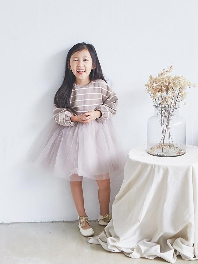條紋拼紗洋裝