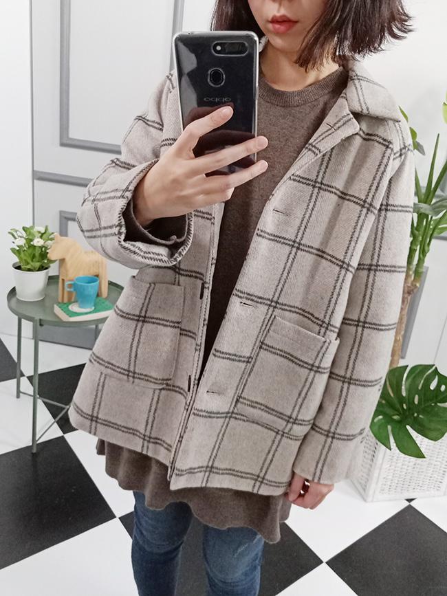 鋪棉格紋大衣