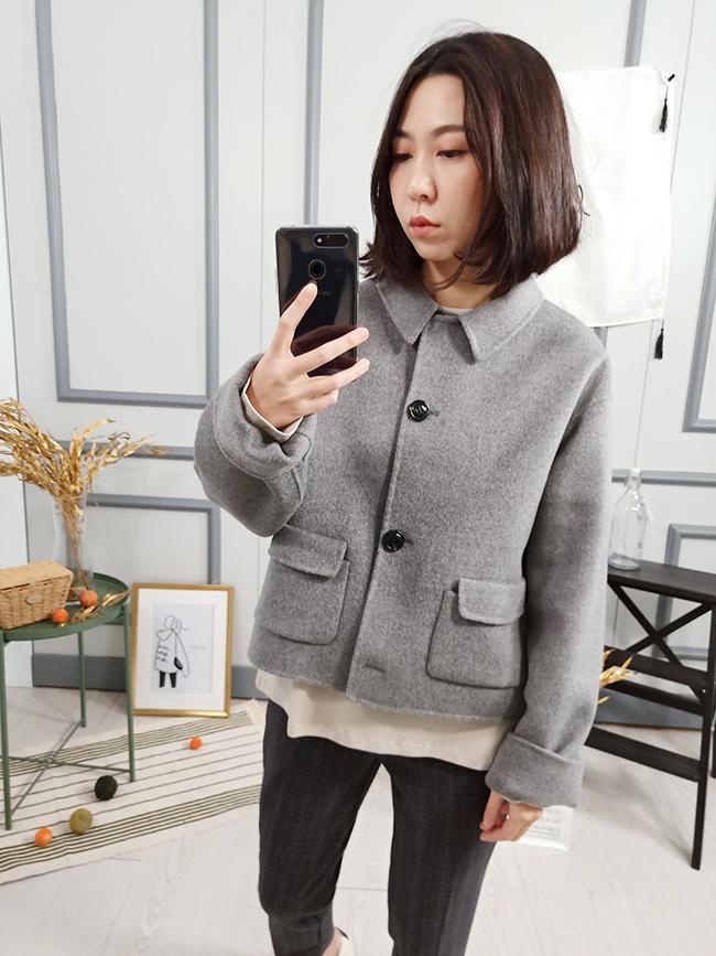 知性短版手工羊毛大衣