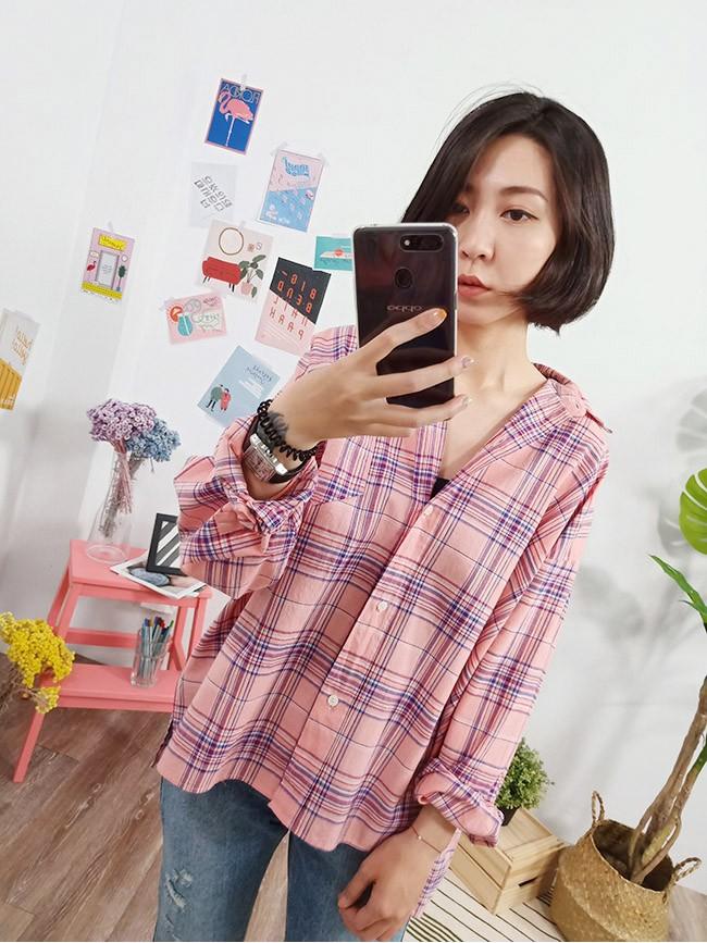 初戀粉色系格紋襯衫