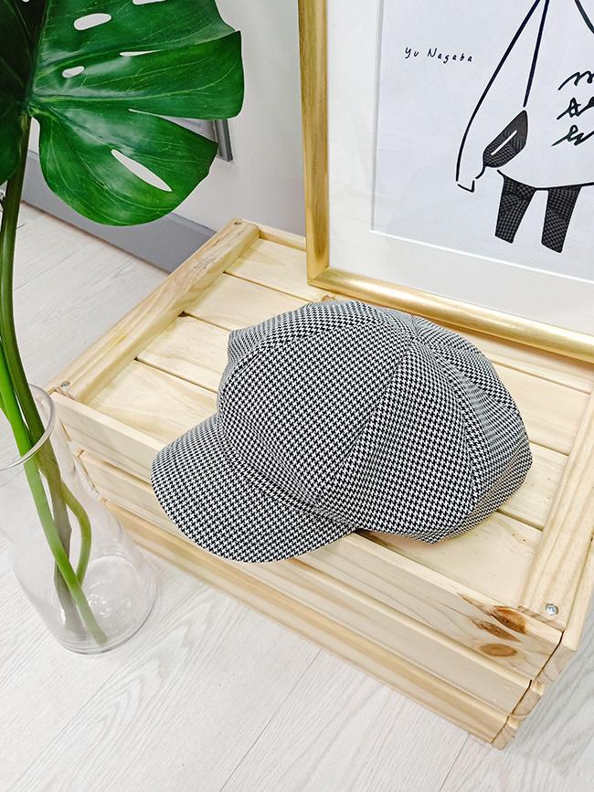 千鳥格紋報童帽