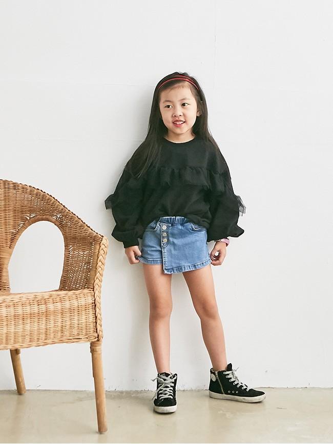 斜釦牛仔褲裙