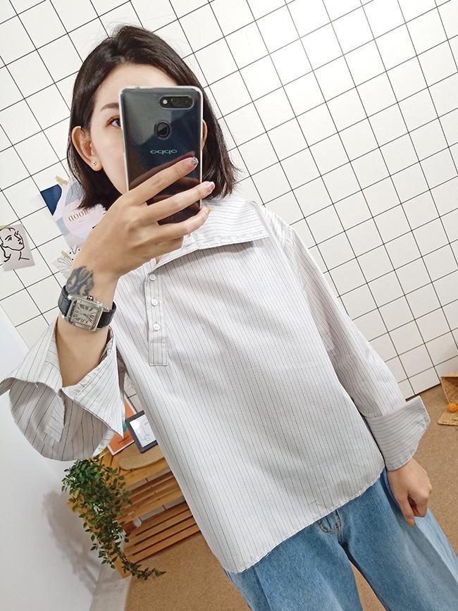 質感斜領襯衫