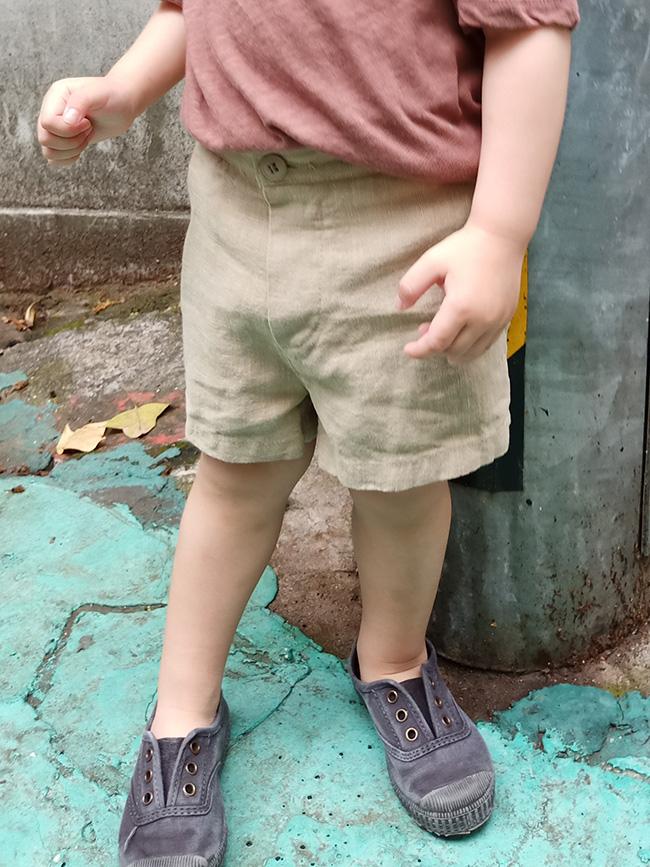 造型鈕釦棉麻短褲