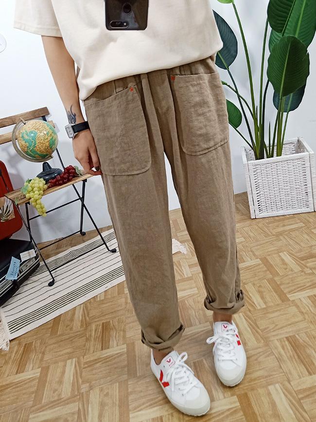 雙層口袋棉麻休閒褲