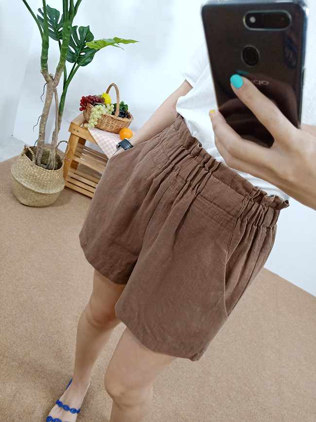 高腰棉麻短褲