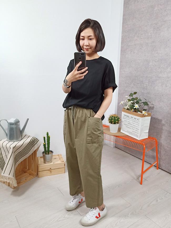 大口袋寬鬆休閒褲
