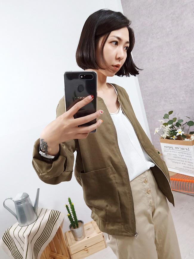 麻料窄版修飾外套
