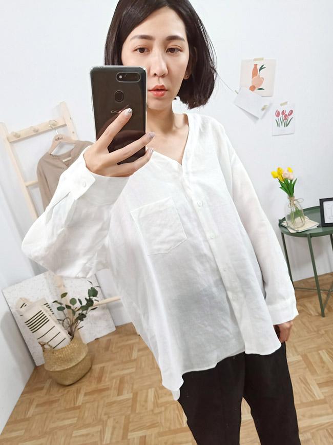 無領圓弧口袋襯衫