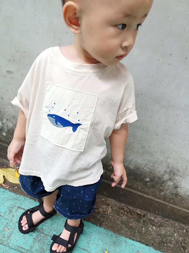 刺繡鯨魚親子T(小人)