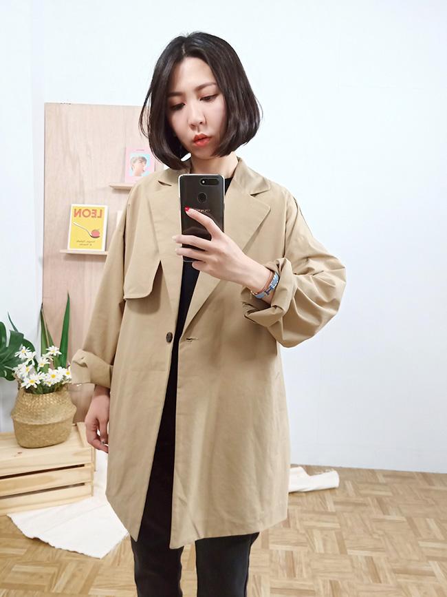 日系中長版風衣外套
