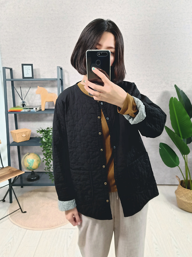 日系壓紋口袋小外套