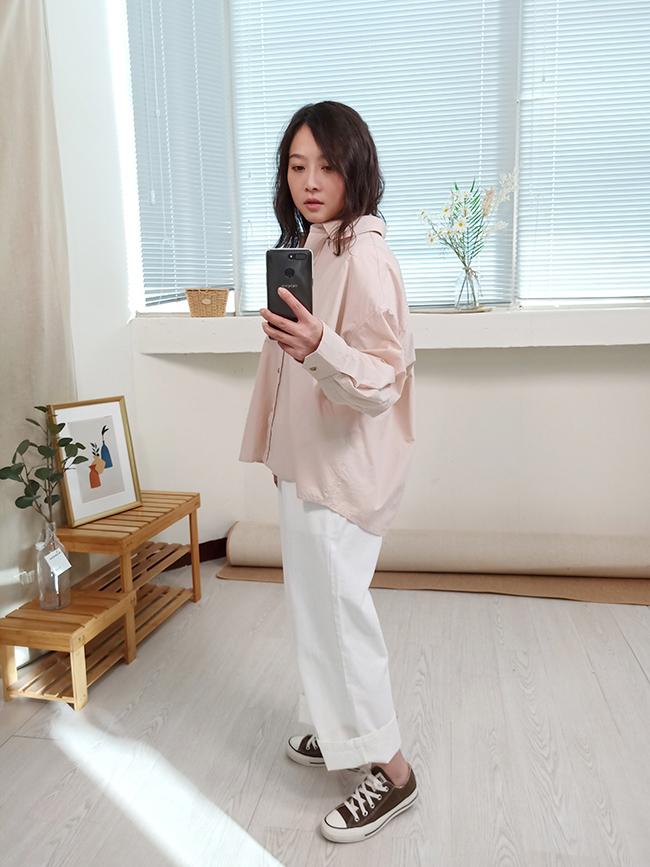 斜紋造型釦寬褲