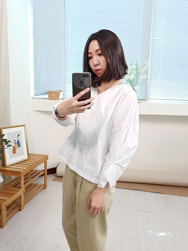 顯瘦V領襯衫
